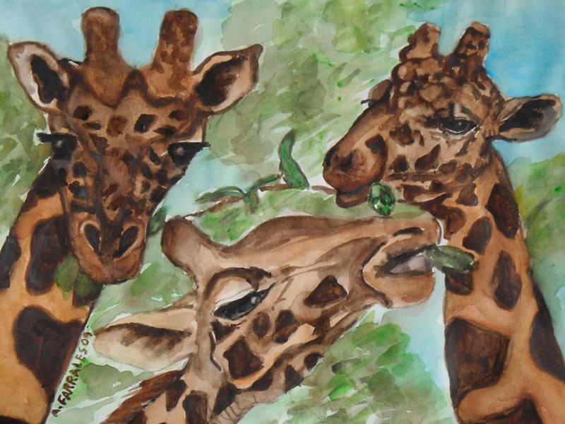 3 Giraffes Greeting Card © Anjuli 2017