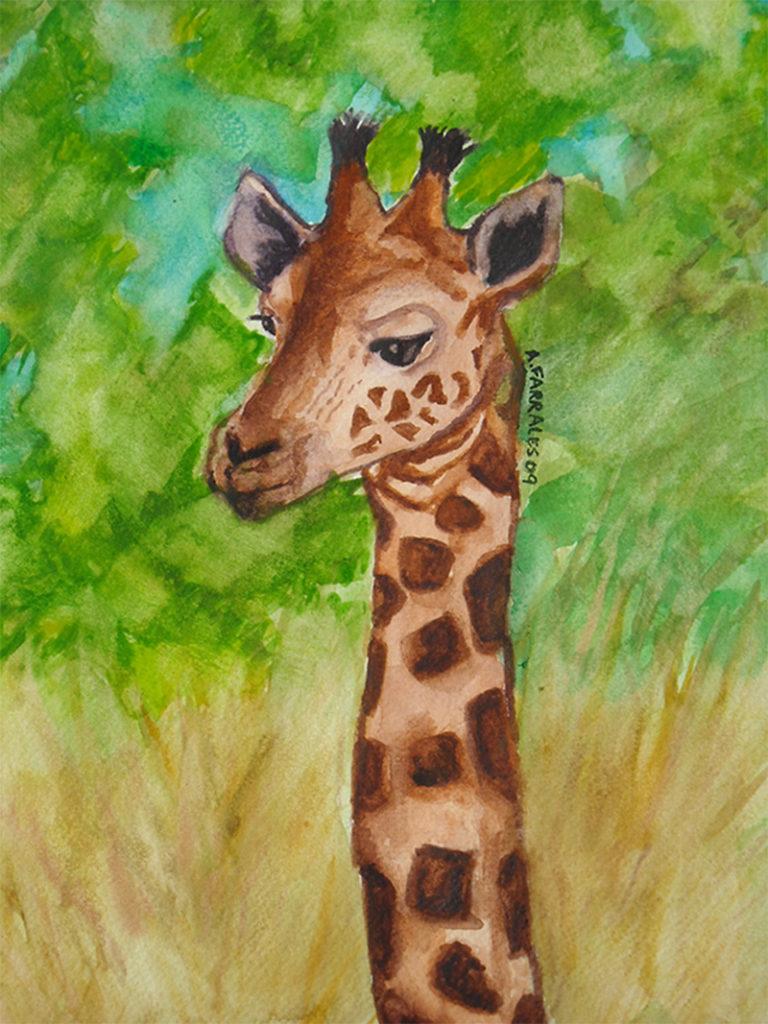 Baby Giraffe Greeting Card © Anjuli 2017