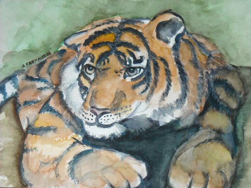 Sitting Tiger Greeting Card © Anjuli 2017