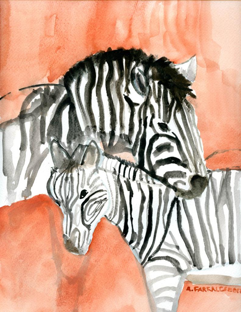 Zebra Greeting Card © 2017 Anjuli
