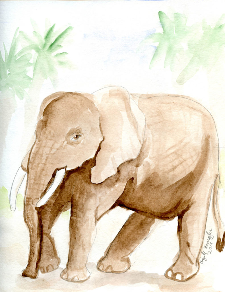 Brown Elephant Greeting Card © Anjuli 2017